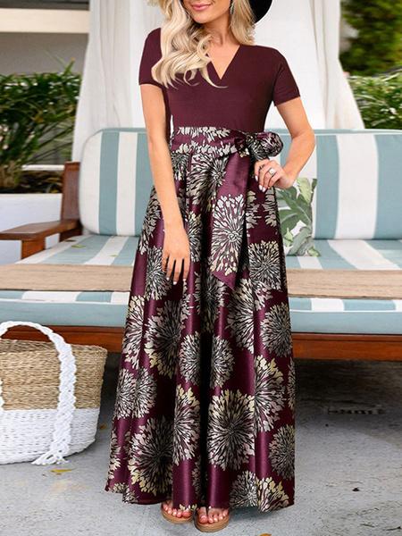 Milanoo Maxi Dresses Short Sleeves Printed Women Dress