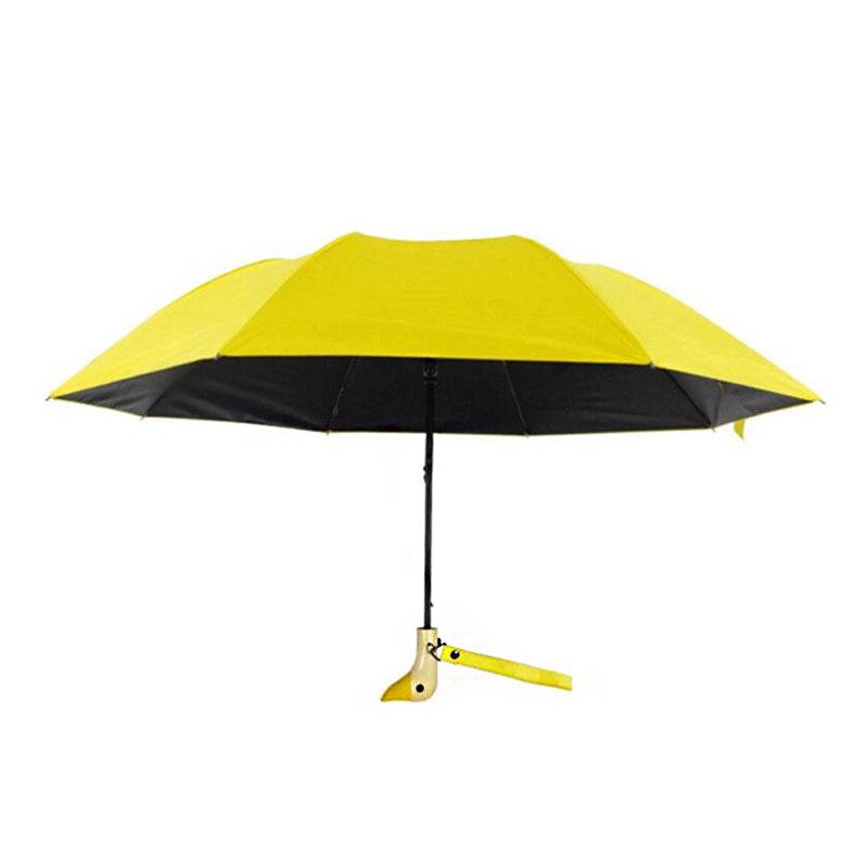 Automatic Folding Umbrella Lovely Duck Wooden Handle Umbrella Windproof Camping Sunshade