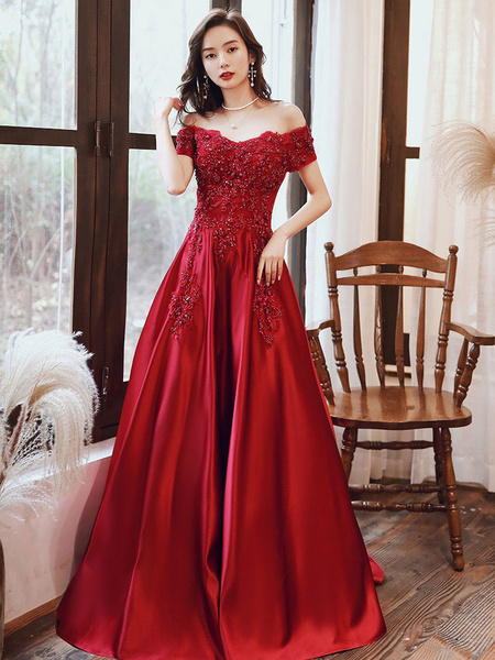 Milanoo Evening Dress A-Line Bateau Neck Floor-Length Short Sleeves Lace-up Beaded Matte Satin Prom Dress