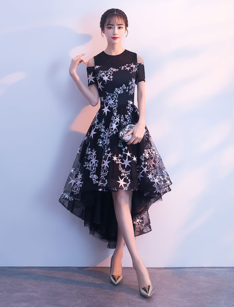 Milanoo Black Cocktail Dress Lace Stars Embroidered Cold Shoulder High Low Graduation Party Dress