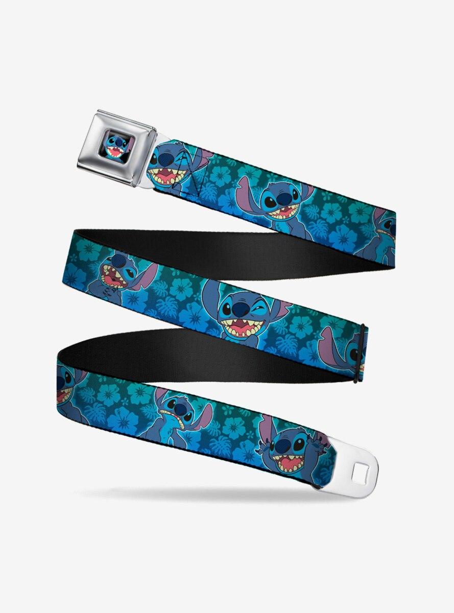 Disney Lilo & Stitch Expressions Hibiscus Collage Green Blue Fade Seatbelt Belt