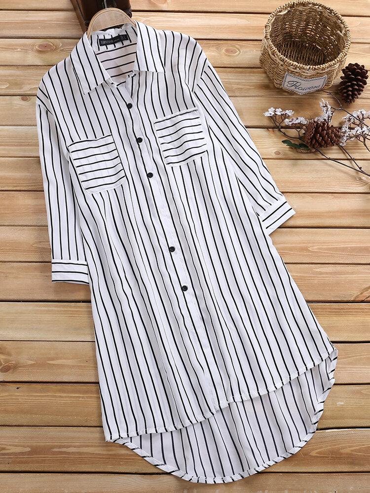 Leisure Cross Stripe Pockets Half Sleeve Women Blouse