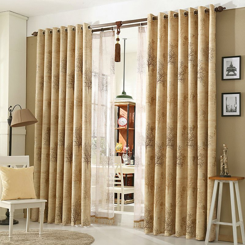 European Style Beige Blackout Custom Grommet Curtains for Living Room and Bedroom