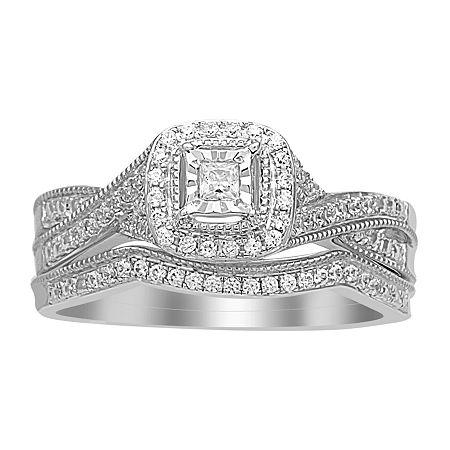 Womens 1/4 CT. T.W. Genuine White Diamond 10K White Gold Bridal Set, 8 , No Color Family