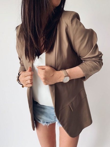 Milanoo Blazer For Women Navy Turndown Collar Long Sleeves Short Jacket