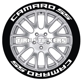 Tire Stickers CAMROSS-1718-1-8-G Permanent Raised Rubber Lettering 'Camaro SS' Logo - 8 of each -   17