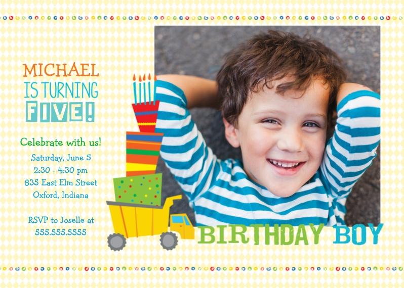 Kids Birthday Party 5x7 Folded Cards, Premium Cardstock 120lb, Card & Stationery -Birthday Boy Truck
