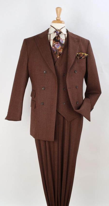 Mens Double Breasted Notch Label Dark Brown Colour Suit