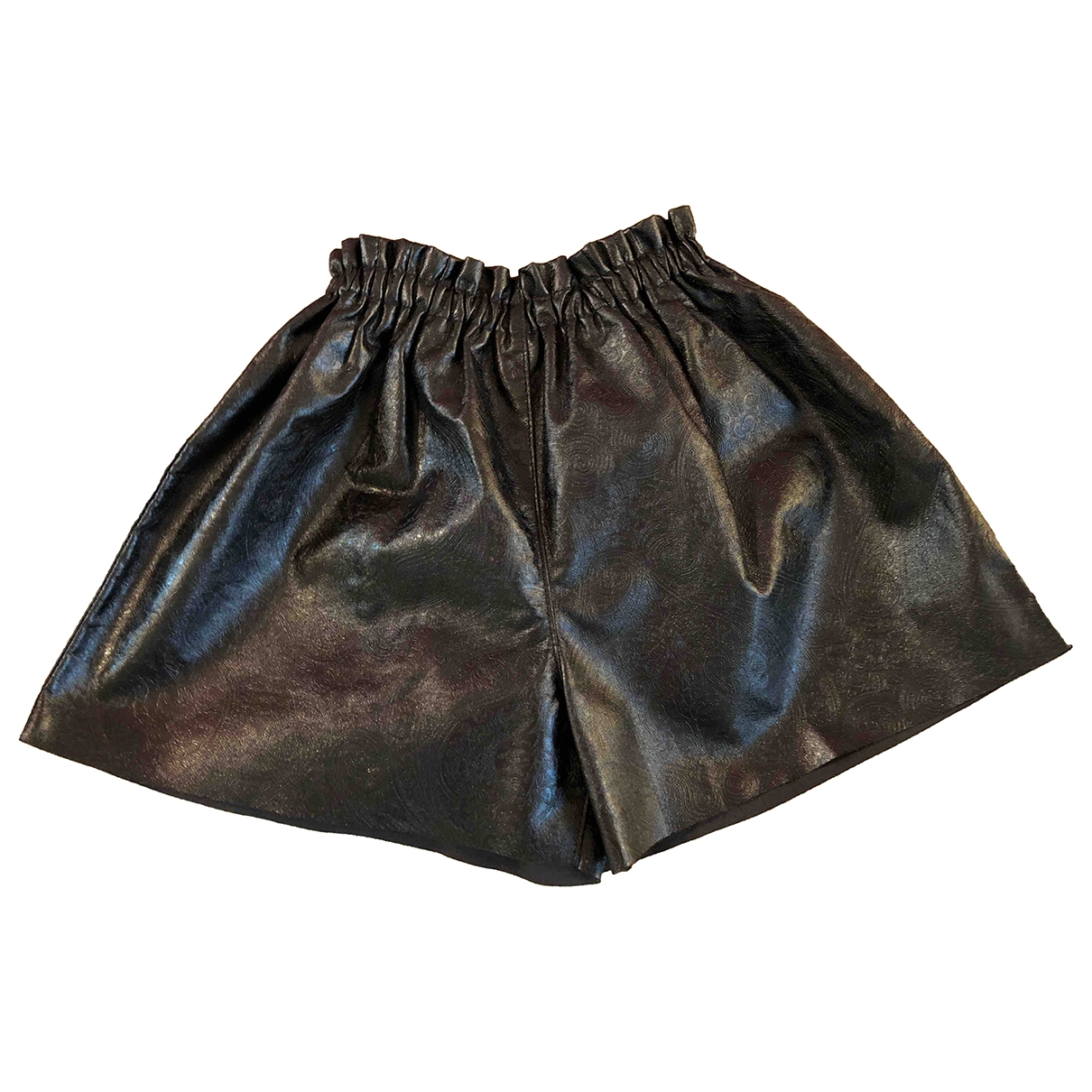 Non Signé / Unsigned \N Black Leather Shorts for Women 42 IT