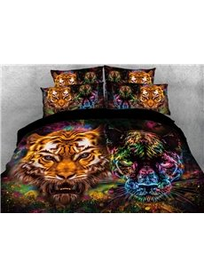 Vivilinen Tiger and Panther Face Printed 4-Piece 3D Bedding Sets/Duvet Covers