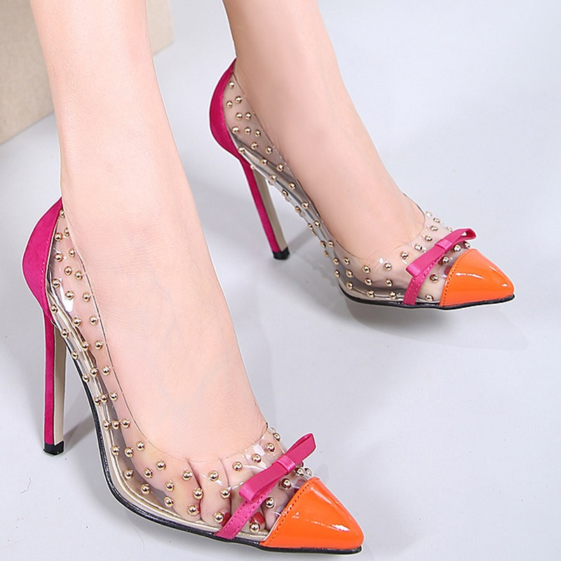 Ericdress PVC Bowknot Rivet Pointed Toe Stiletto Sandals