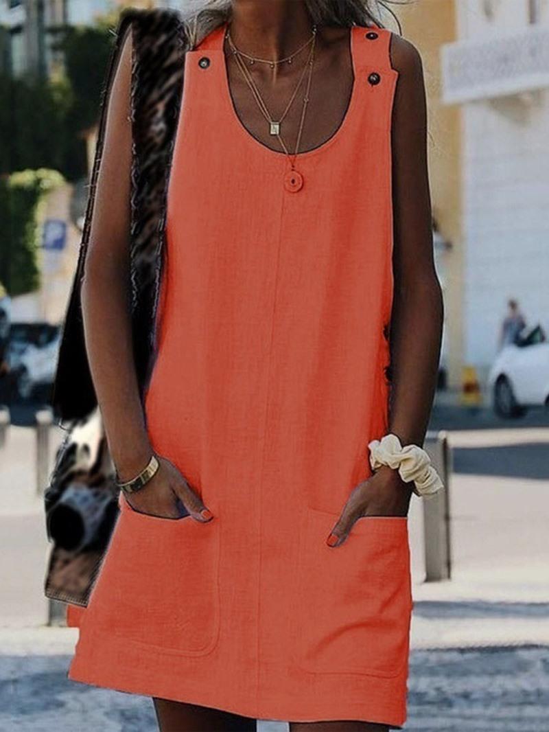 Ericdress Button Scoop Sleeveless Summer Pullover Dress