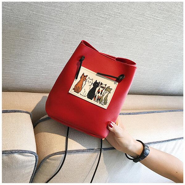 Women Cute Cat Pattern Bucket Bag PU Leather Mini Crossbody Bag