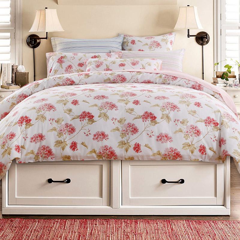European Floral Polyester Duvet Cover Set Reactive Printing Three-Piece Set Polyester Bedding Sets