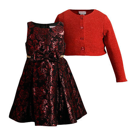 Young Land Toddler Girls Sleeveless Midi Dress Set, 3t , Red