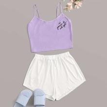 Letter Graphic Cami Pajama Set