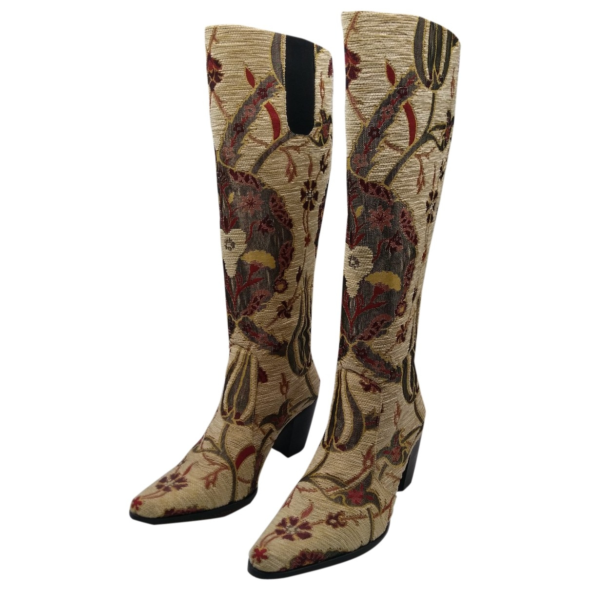 Non Signé / Unsigned \N Beige Leather Boots for Women 40 EU