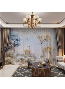 3D Golden Elks Duck Egg Sheer Curtains 80W 84L 2 Panel Set Provides an Elegant Look and Silky Soft Touch Filters Daylight and UV Ray