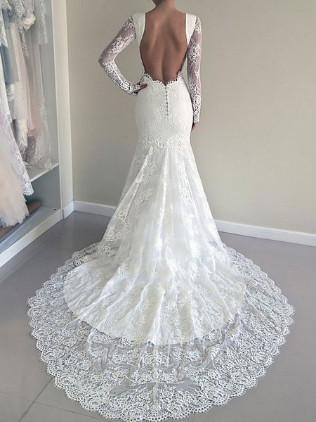 Milanoo Wedding Dress 2020 mermaid Lace Jewel Neck Long Sleeve Bridal Gown With Train