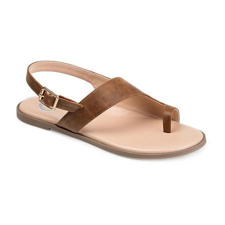 Journee Collection Womens Gidget Adjustable Strap Flat Sandals, 9 Medium, Brown