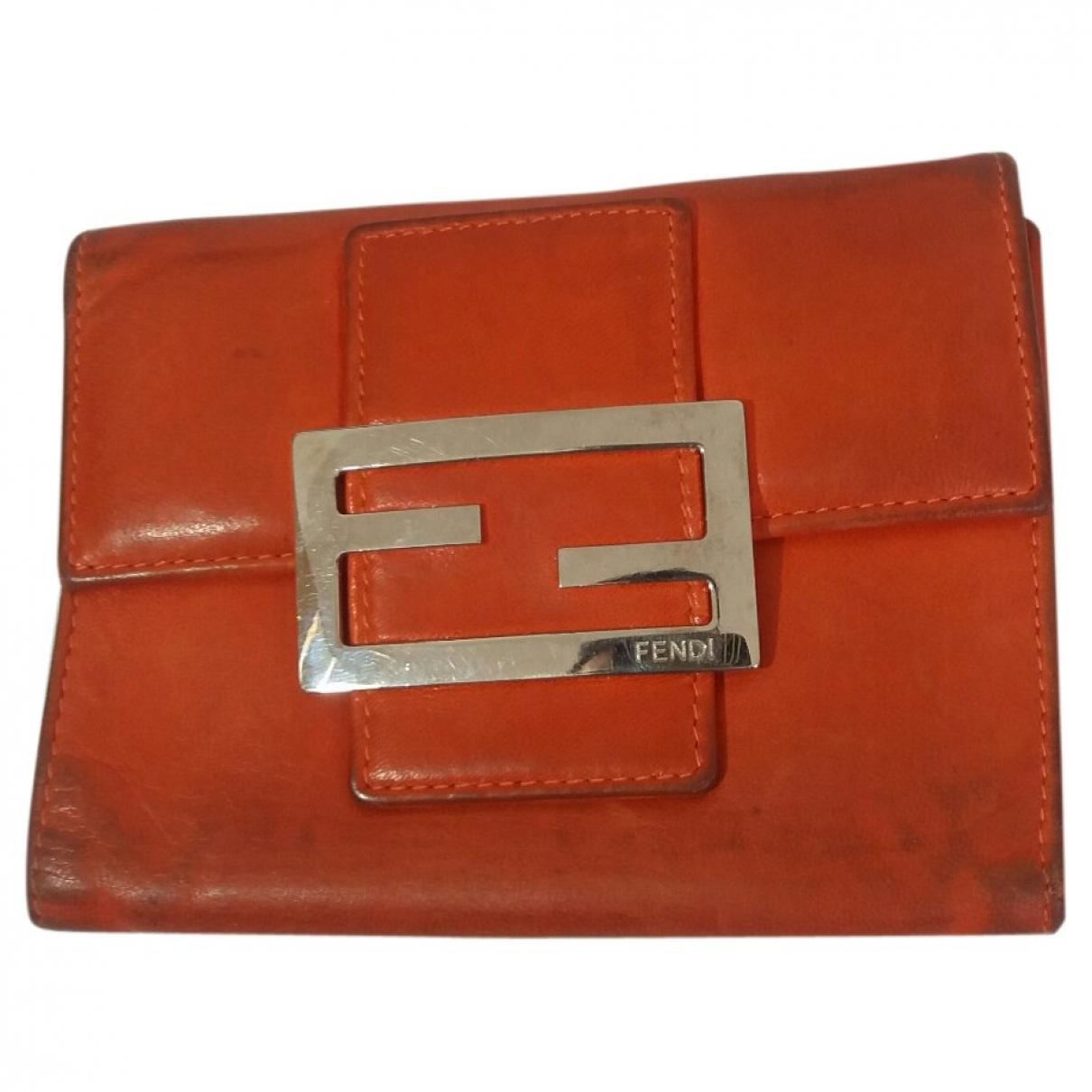 Fendi \N Orange Leather wallet for Women \N