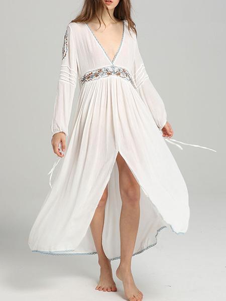 Milanoo Boho Dress V Neck Long Sleeves Embroidered Dress
