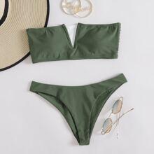 V Wired Bandeau Bikini Swimsuit