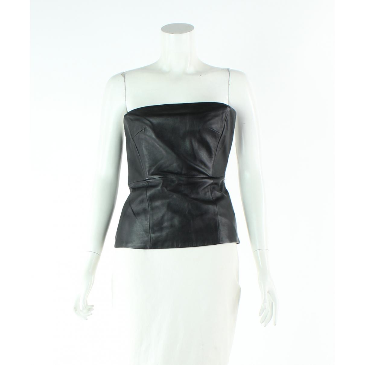 Tibi \N Black Leather  top for Women 0 0-5