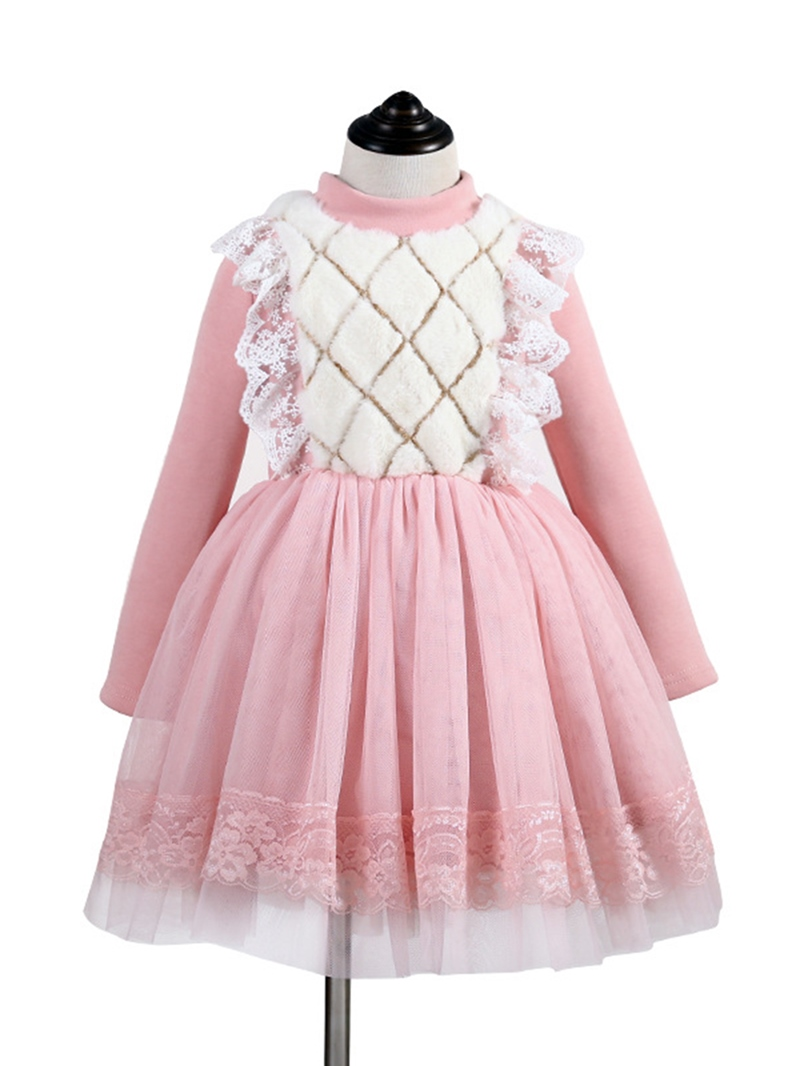Ericdress Lace Thick Mesh Patchwork Girl's Dress