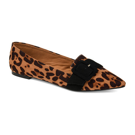 Journee Collection Womens Audrey Slip-on Pointed Toe Loafers, 7 1/2 Medium, Brown