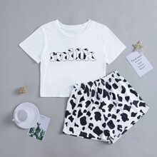 Letter And Cow Print Pajama Set