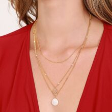 Crystal Heart And Pearl Charm Layered Necklace