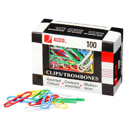 Acco Coloured Paper Clips with Vinyl Coating100 / Box - Assorted - #5 (2