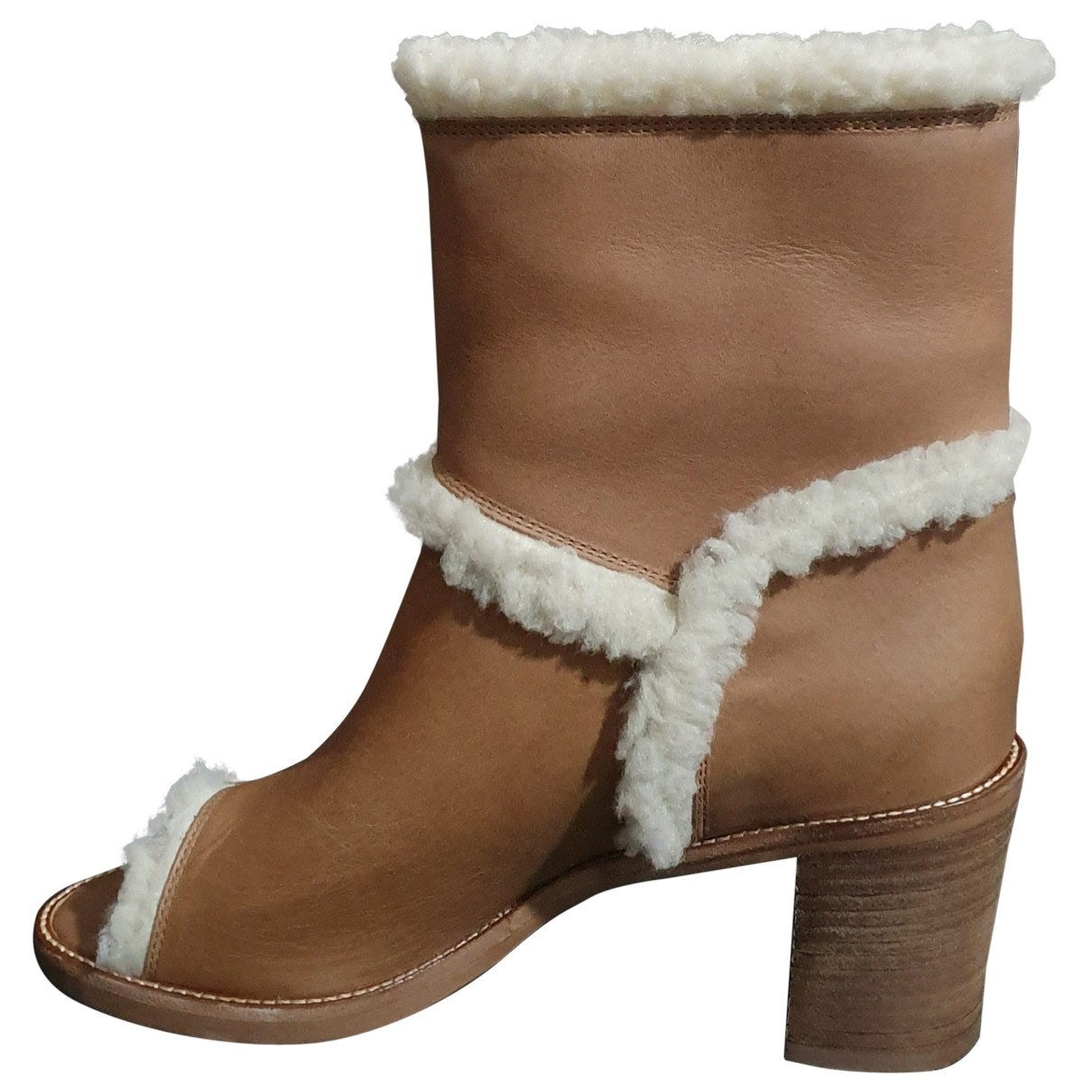 Mm6 \N Brown Leather Ankle boots for Women 36 EU