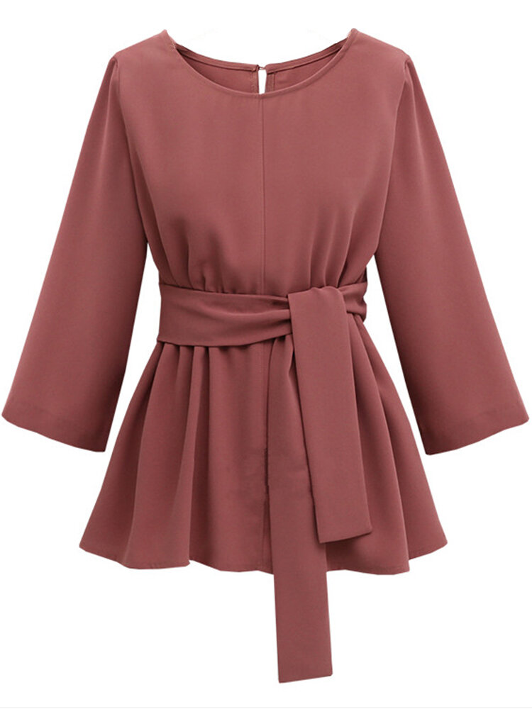 Casual Pure Color Waistband Mini Dresses For Women