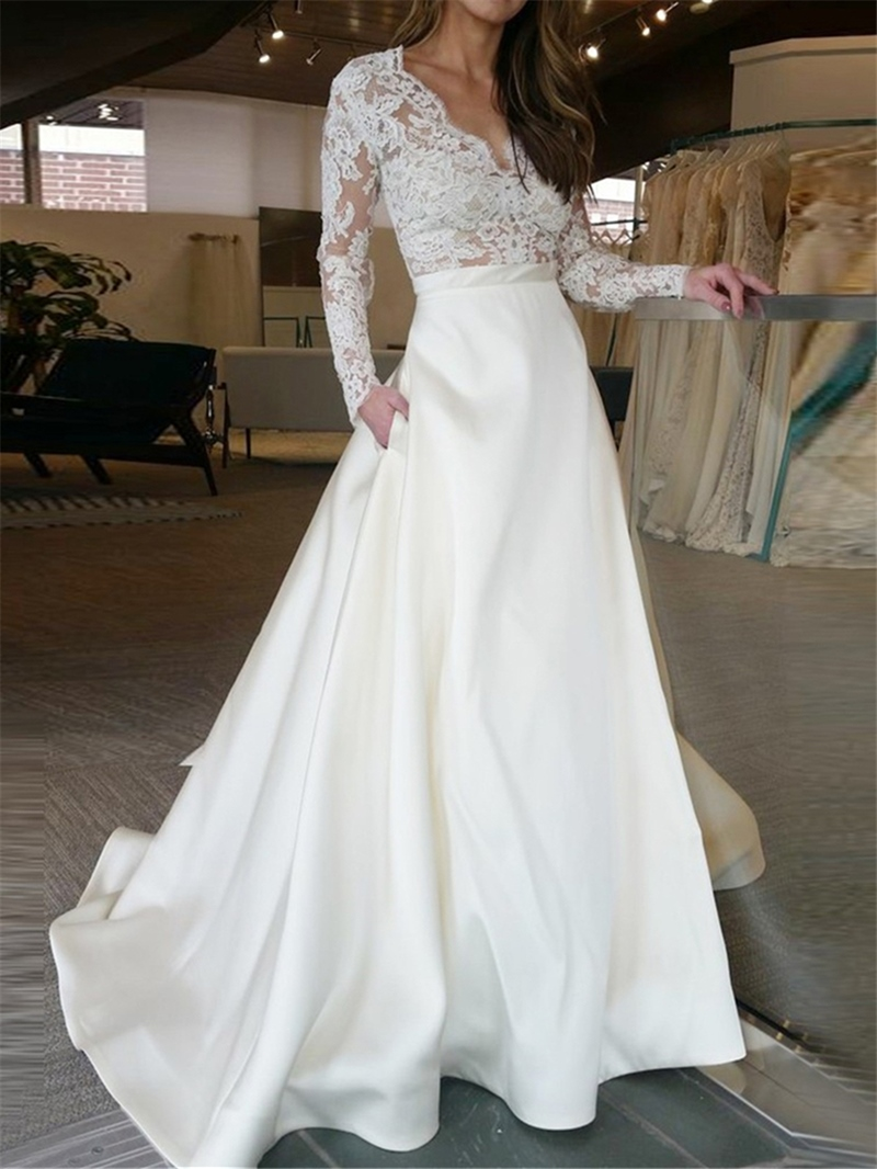 Ericdress Pockets Appliques Long Sleeves Wedding Dress