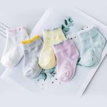 5pairs Baby Contrast Trim Socks