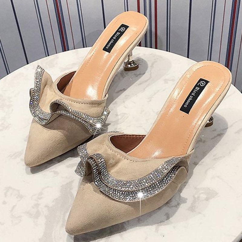 Ericdress Rhinestone Closed Toe Kitten Heel Women's Mules Shoes