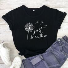 Dandelion & Letter Graphic Tee