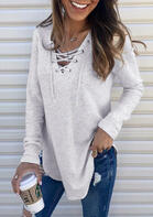 Solid Lace Up V-Neck Blouse without Necklace - Light Grey
