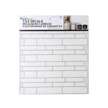 Tile Wall Decals Peel and Stick Self-Adhesive Rect, White, 10