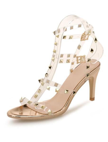 Milanoo Gold Gladiator Sandals Women Open Toe T Type Rivets Strappy High Heel Sandals
