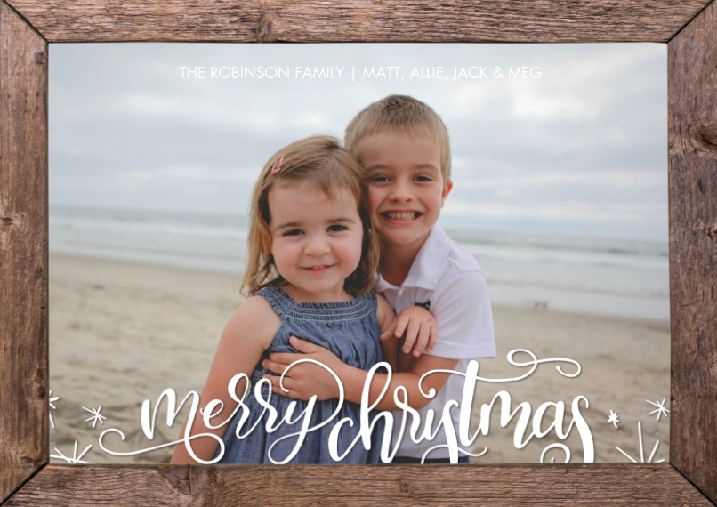 Christmas Photo Cards Flat Glossy Photo Paper Cards with Envelopes, 5x7, Card & Stationery -Christmas Script Wood Frame by Tumbalina