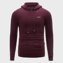 Men Letter Embroidery Drawstring Hooded Sweater