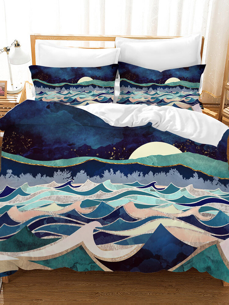 3D Landscape Bed Duvet Cover Thicken Soft Twill Brushed Fabric Comforter Bedding Set Twin King Queen US Size