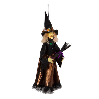 Halloween Decoration 22'' Hanging Animated Witch with Broom - G.Ghouls