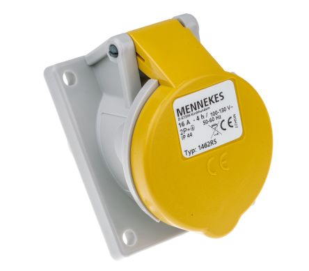 MENNEKES IP44 Yellow Panel Mount 3P Angled Industrial Power Socket, Rated At 16.0A, 110.0 V