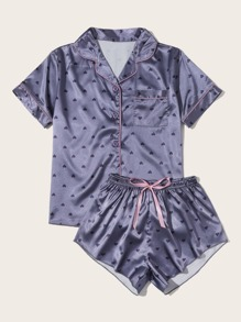 Heart Print Button Up Satin Top With Shorts
