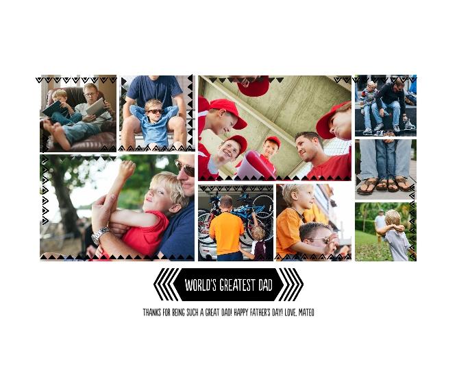 Family + Friends Framed Canvas Print, Black, 20x24, Home Décor -Greatest Dad Triangle Border