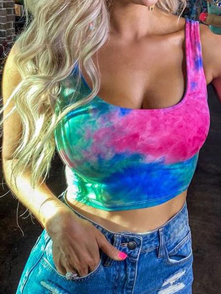 Milanoo Tank Top Tie Dye Casual Cotton Blend Women Summer Tops